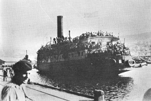 "The ""Exodus"" Ship arriving in Haifa on July 20 1947"